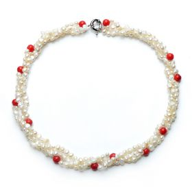 5-6mm Nugget White Pearl and 7-8mm Red Coral Three Strand Twisted Necklace
