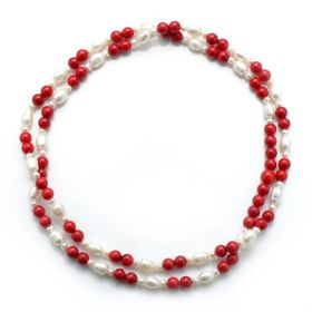 White Pearl Red Coral Necklace 36 Inch