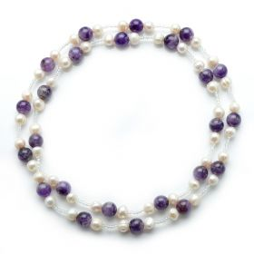 8-9mm Potato White Freshwater Pearl Necklace 10mm Amethyst Beads