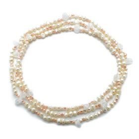 Nugget White and Pink Pearls Freeform Crack Crystal Necklace 60 Inch