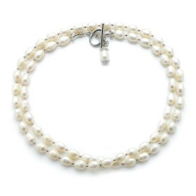 7-8mm Rice White Freshwater Pearls Necklace 36 Inch