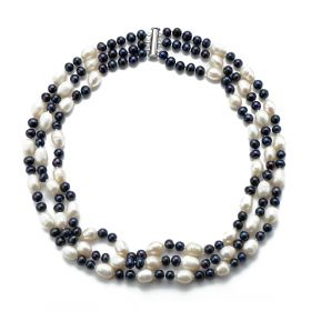 Three Strand Necklace 8-9mm Rice White and 5-6mm Potato Black Pearls