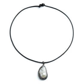 Rhinestones Studded White Baroque Pearl Pendant Necklace Single Black Rope