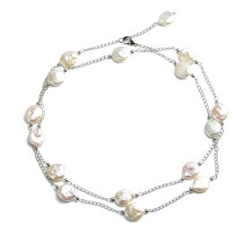 Coin 11-12mm White Freshwater Pearls Link Chain Necklace
