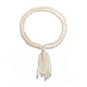 Tassel Pearl Necklace White Freshwater Pearls Potato 7-8mm 28inch