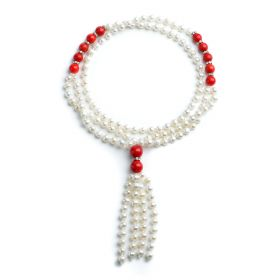 6-7mm Potato White Pearls with Red Coral Beads Tassel Necklace