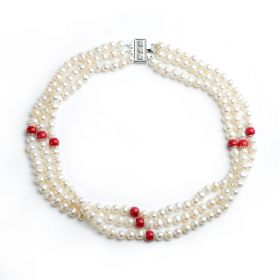 6-7mm Potato White Pearls and 8mm Red Coral Three Strand Pearl Necklace