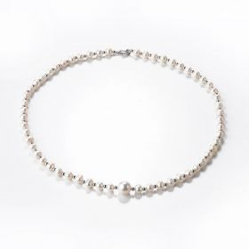 White Cultured Pearl Single Strand Necklace 19 inch for Wedding Mother's Day