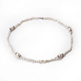 Small Irregular White Freshwater Pearl Single Strand Necklace 20 inch