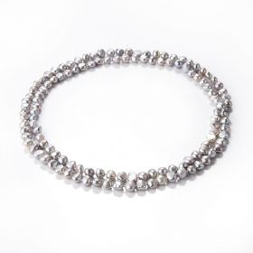 7-8mm Gray Baroque Pearl Beaded Long Strand Necklace for Women 36""