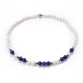 White Pearl Lapis Lazuli and Hematite Single Strand Necklace 17 Inch