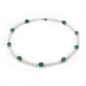 7-8mm White Freshwater Pearl and Aventurine Necklace 22 inch
