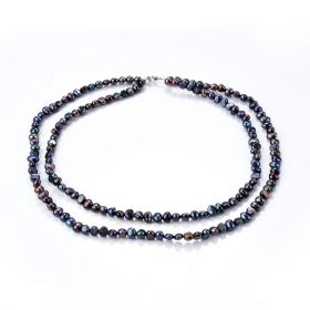 Black 6-7mm Double Strand Freshwater Pearl Necklace for Women