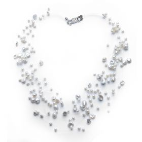 Charming Natural White Illusion Floating Pearl Necklace 17 inch