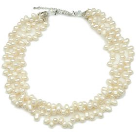 Unique Fashion 6-7mm White Freshwater Cultured Pearl Women's 3 Multi-Strand Necklace