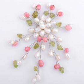 Freshwater White Pearl Brooch with Peridot and Red Coral FPB002