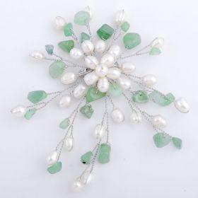 Freshwater White Pearl Brooch Green Aventurine FPB003