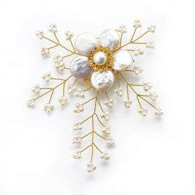 White Coin Pearls Brooch Hand Wired Golden Metallic Thread for Ladies Jewelry Ornaments