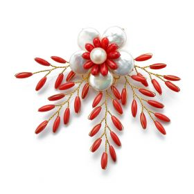 White Coin Pearls Flower Brooch Red Coral Beads Handmade Freshwater cultured pearl Brooch