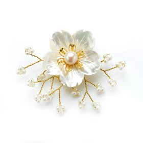 Elegant White Pearls Brooch White Shell Flower Hand Wired Golden Metallic Thread