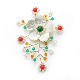 Colorful White Pearls Brooch Handmade White Shell Flower with Red Coral and Green Jade
