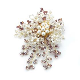 Luxury Radial White Pearls Purple and Clear Crystal Brooch Handmade for Ladies