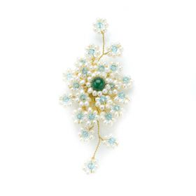 Graceful White Pearl Brooch Blue Crystal Green Jade Hand Wired Golden Metallic Thread