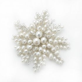 Handmade Radial Shape White Pearls Brooch with Clear Crystal Beads For Women Gifts