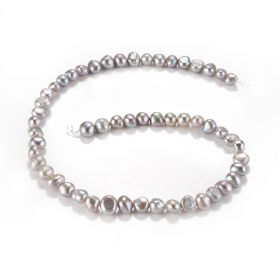 7-8mm Grey Nugget Baroque Freshwater Pearls Loose Beads Strand for Beading Jewelry Making 14 inch