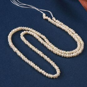 3-4mm White Button Freshwater Pearl Loose Seed Beads Strand 15""