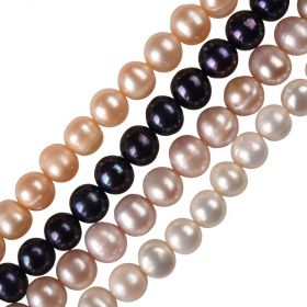 "15"" Full Strand 8-9mm Off Round Freshwater Potato Pearls Beads Multi Colored"