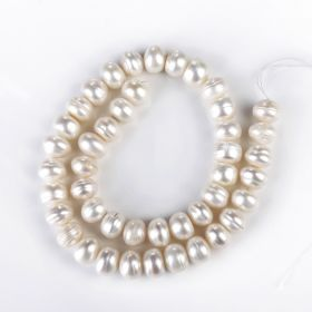 White Button Freshwater Pearl Jewelry Making Beads Strand 10-11mm
