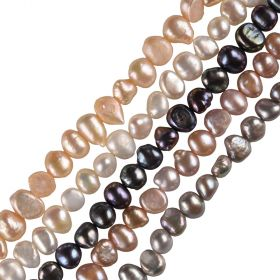 15 inch Full Strand of Baroque Freshwater Pearls 7-8mm Multi Colors