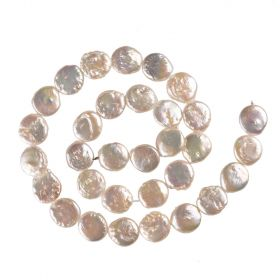 """Natural 12mm White Coin Freshwater Cultured Pearls Strand DIY Loose Beads 15"""""""