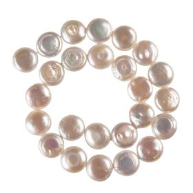 "14mm White Freshwater Flat Round Coin Pearls Strand 15"" Full Strand 27pcs"