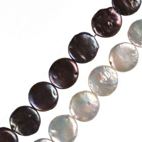 "14-15mm White/Black Coin Freshwater Pearl Loose Beads 15"" Full Strand"