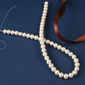 White Near Round Freshwater Pearl Beads 8-9mm 15 inch Full Strand
