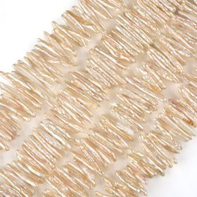 "28*4mm Stick Biwa Pearls Loose Beads Strand 15"" for Jewelry Making"