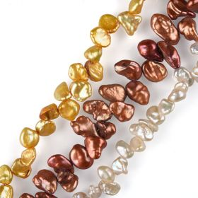 Baroque Keshi Cultured Freshwater Pearl Side Drilled Strand Wholesale 15 Inch