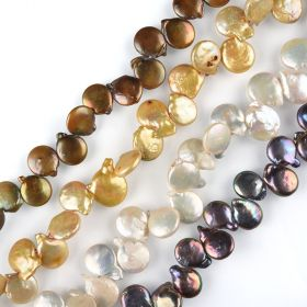 Baroque Coin Shape Cultured Freshwater Pearls Strand for Handmade Beach Jewelry