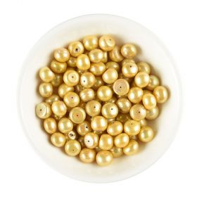9-10mm AA Champagne Genuine Freshwater Button Pearl Loose Beads Half Drilled 20pcs