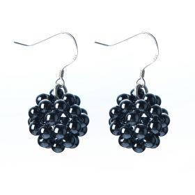 Handmade Ball Earrings Round 4mm Black Hematite Beads 925 Silver Hook