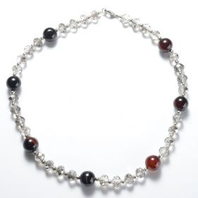 Fashion Women's Simple 20 Inch Necklace 14mm Round Agate Beads with Crystal