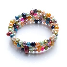 Multiple Shape and Colors Freshwater Pearls Bangle Bracelet Random Color and Shape