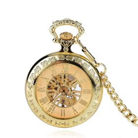 Vintage Mechanical Hand Wind Pocket Watch Golden Case with Chain
