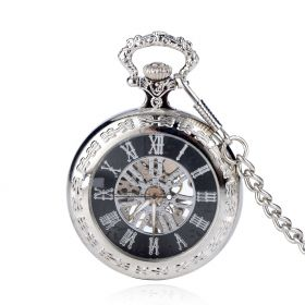 Classic Collection Antiqued Silver Case Mechanical Pocket Watches with Chain