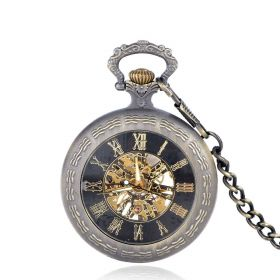 Classic Bronze Case Mechanical Roman Numerals Pocket Watches with Chain Gift