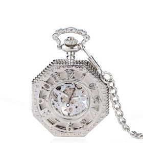 Octagon Mechanical Pocket Watch Silver Half Hunter Case Arabic Number