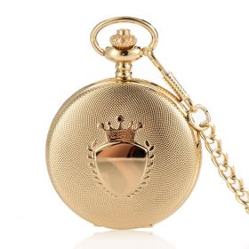Antique Round Golden Case Cover Pocket Watches Quartz Movement with Chain
