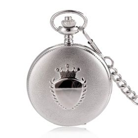 Luxury Fashion Silvery Alloy Case Cover Pocket Watch Quartz Movement with Chain